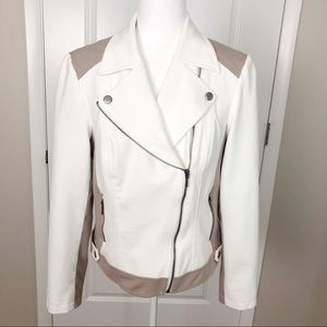 INC | Knit Moto Jacket Ivory & Taupe L